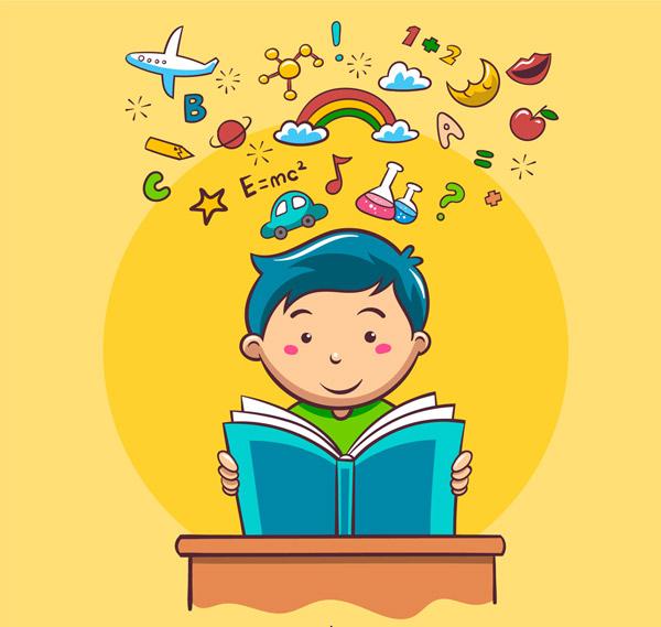 卡通读书的男孩