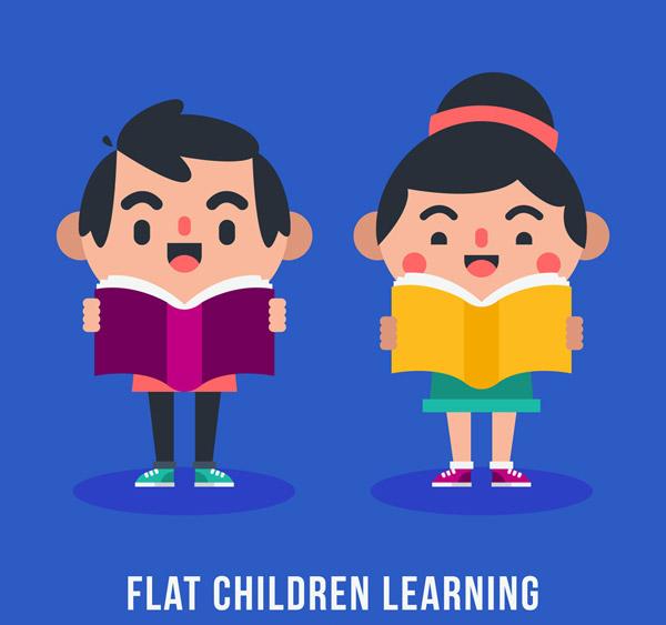 卡通读书的儿童