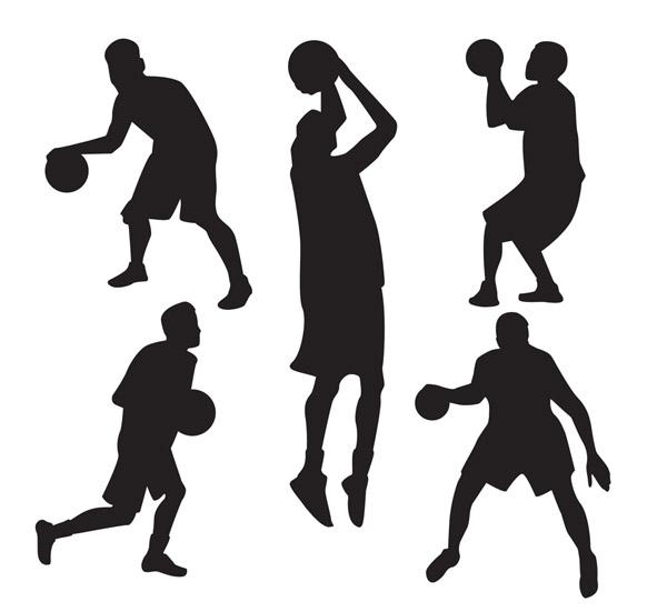 篮球男子剪影矢量