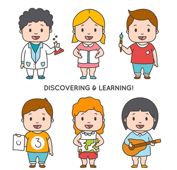 可爱学习儿童