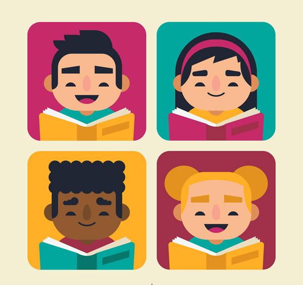 可爱读书儿童