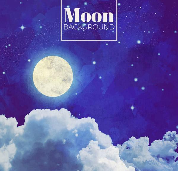 夜空云层上的明月