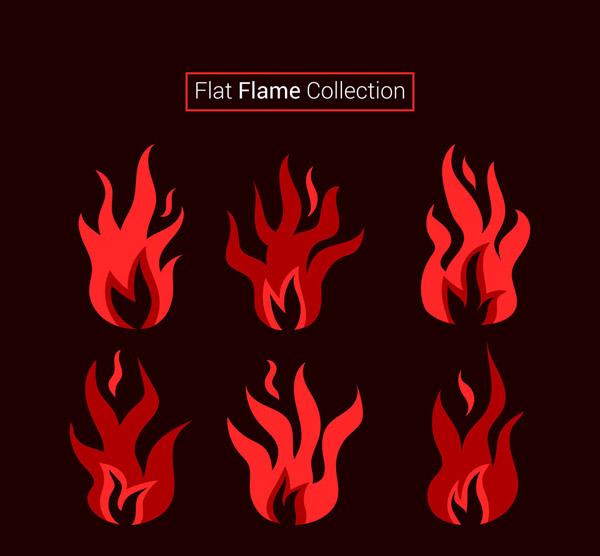 扁平化红色火焰