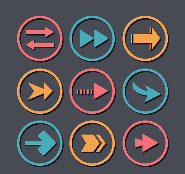 圆形彩色箭头图标