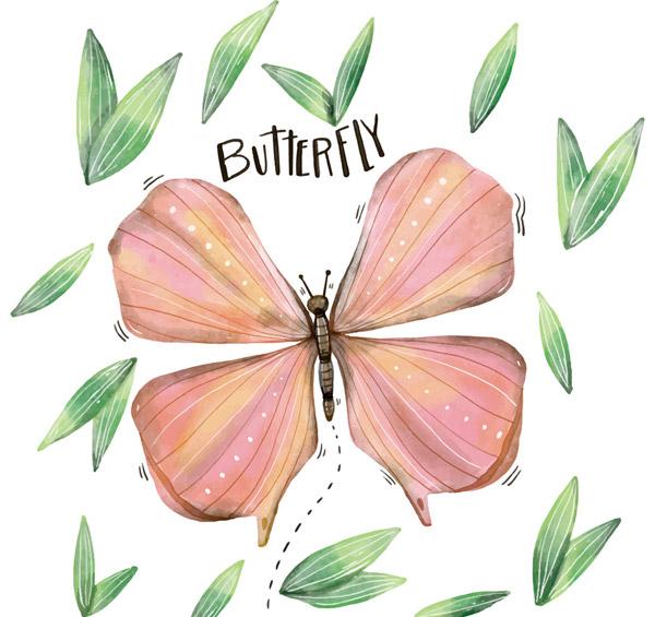 粉色蝴蝶和树叶