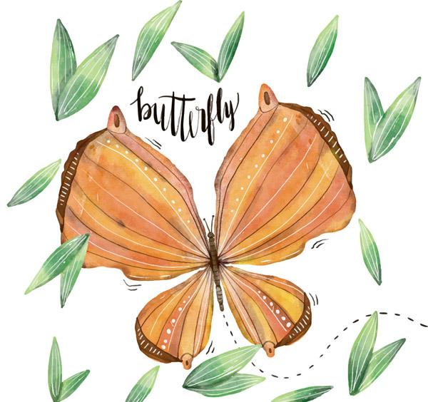 水彩绘橙色蝴蝶