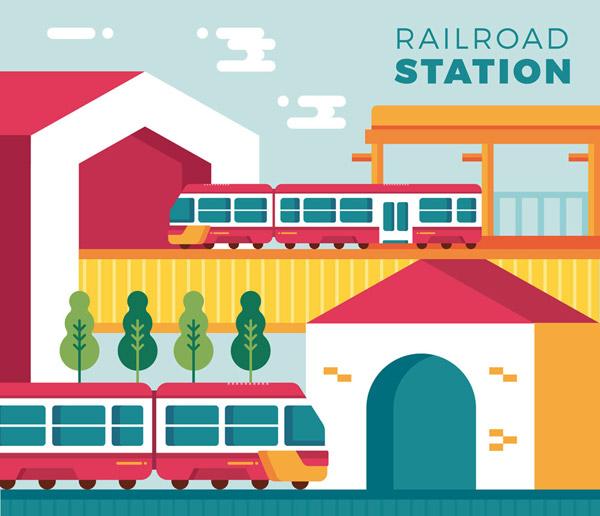 火车站和火车矢量
