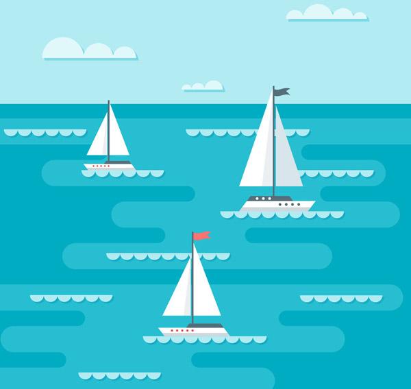 大海上的三艘帆船