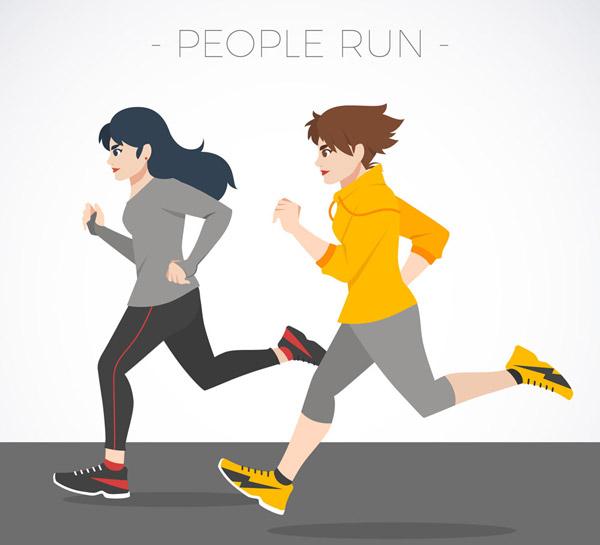 跑步的2个女子