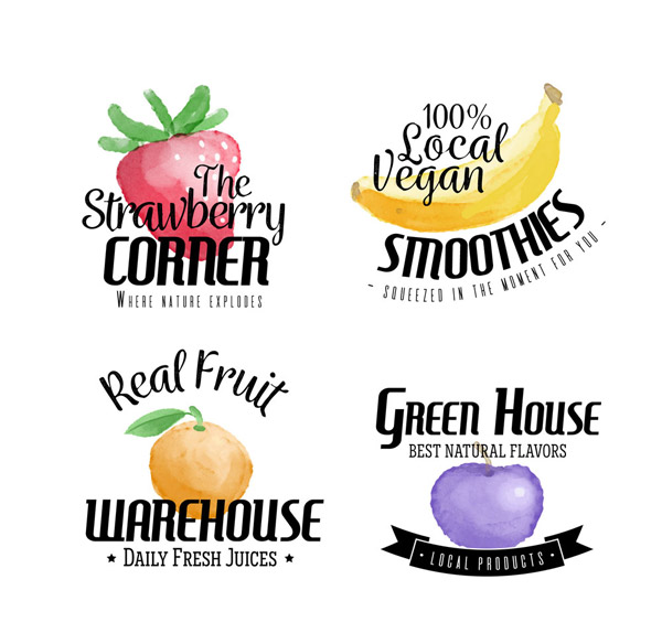 水果汁标签矢量