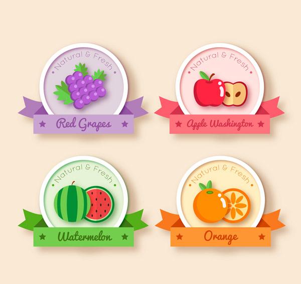 水果丝带标签