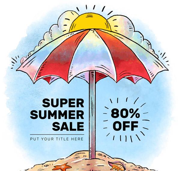 遮阳伞夏季促销海报