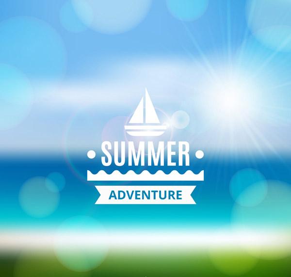 夏季沙滩风景海报