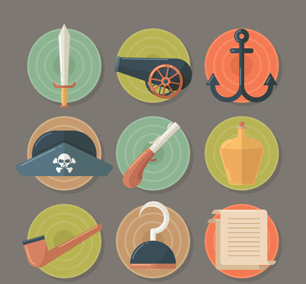 圆形海盗元素图标