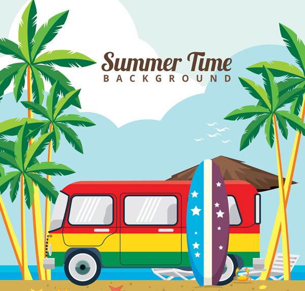 彩色夏季沙滩度假车