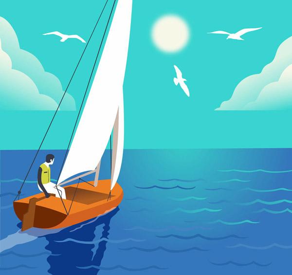 坐帆船出海的男子