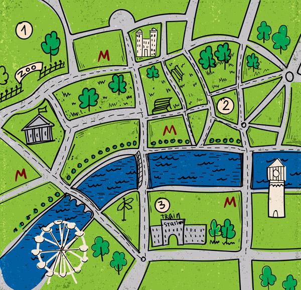 绿色城市街道地图