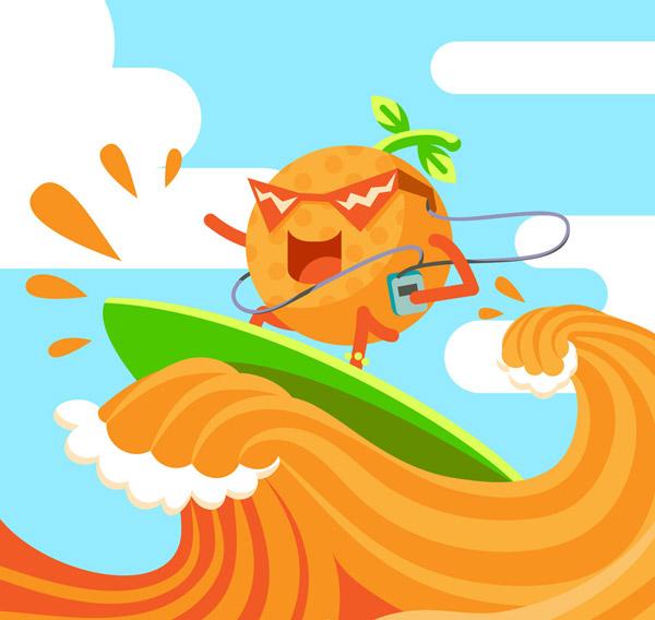 橙汁上冲浪的橙子