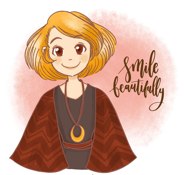 笑脸短发女孩