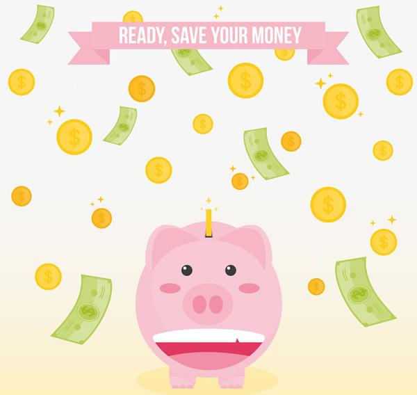 存钱罐和钱币雨