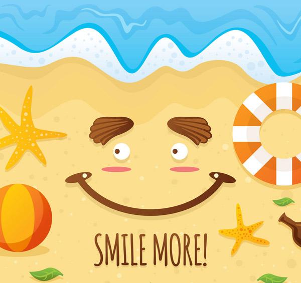 夏季沙滩笑脸矢量