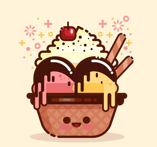可爱甜筒冰淇淋