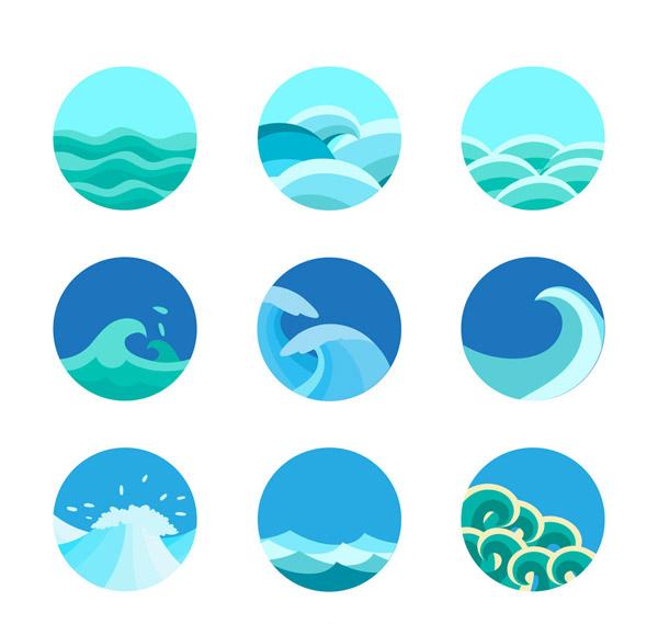 圆形海浪图标