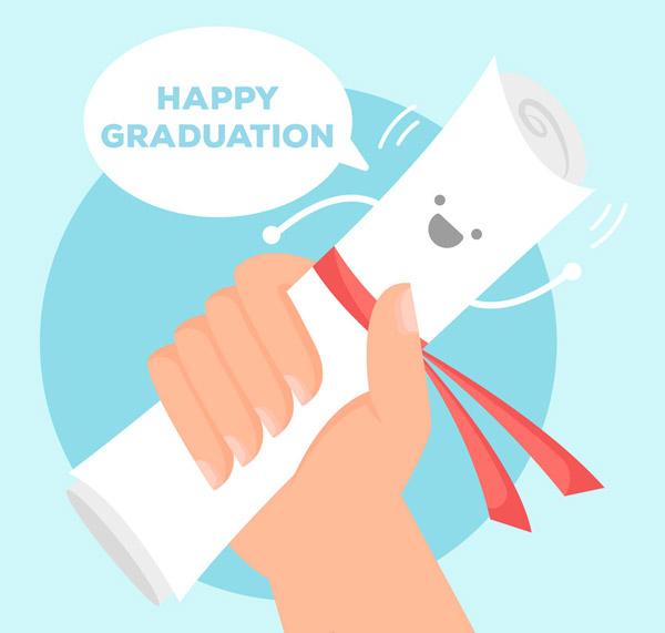 握毕业证书的手臂