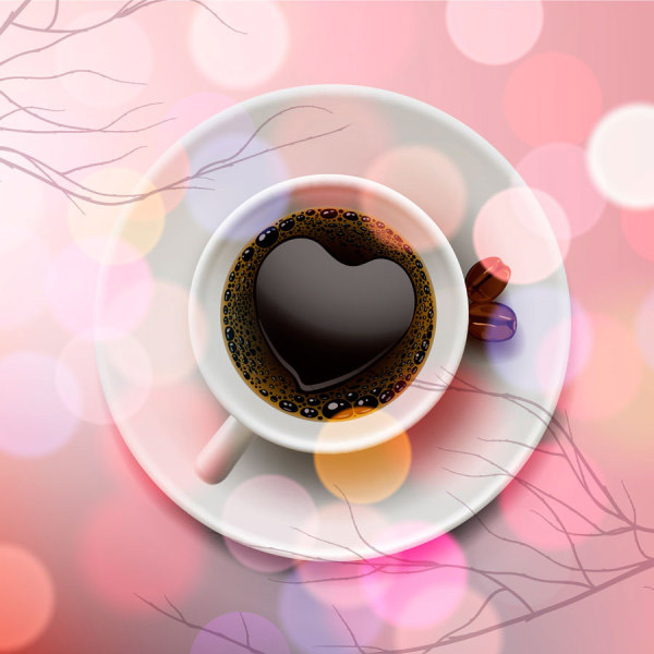 Romantic heart-shaped coffee