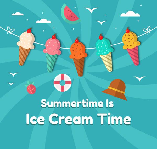 夏季冰淇淋拉旗