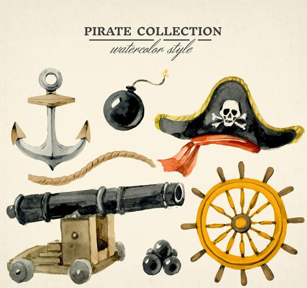 水彩绘海盗元素
