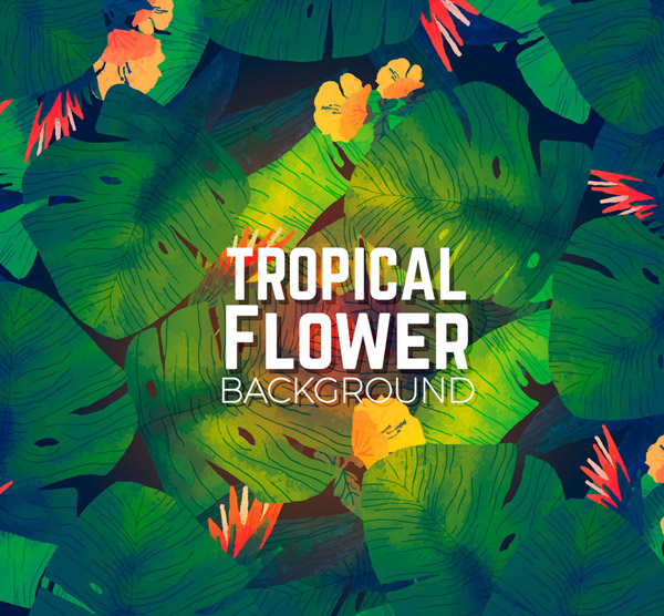 彩绘热带花卉背景