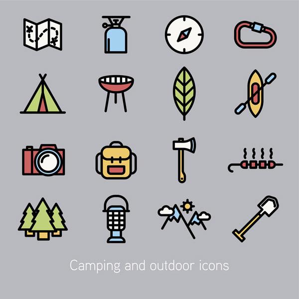 户外野营图标