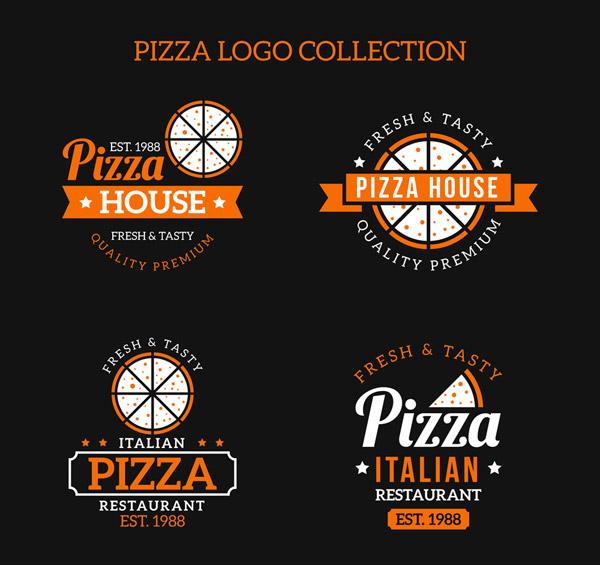 精致橙色披萨标志