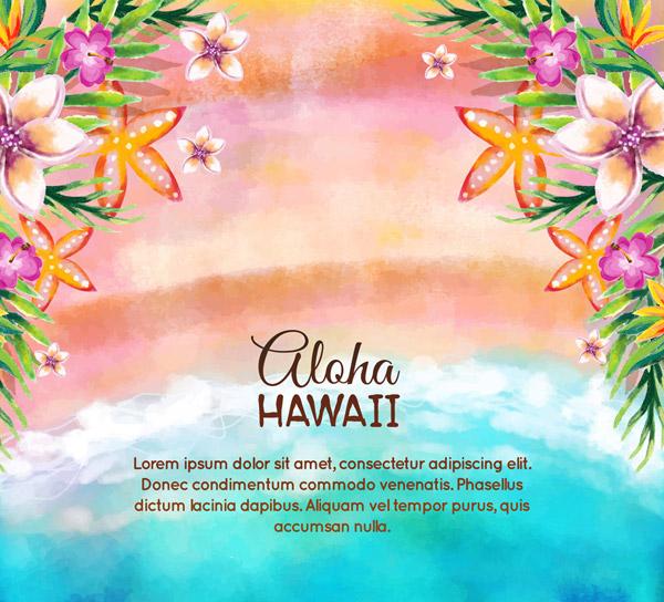水彩绘夏威夷沙滩