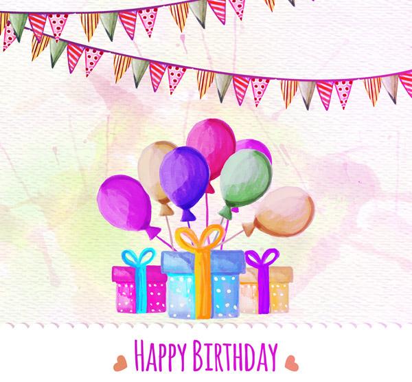 生日气球和礼物
