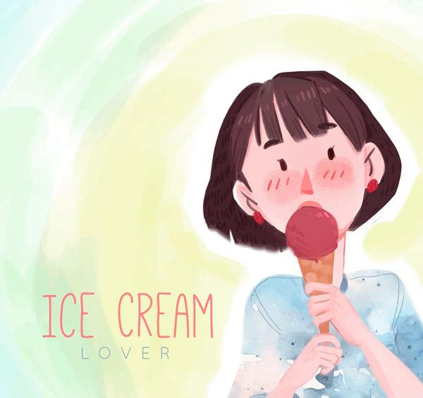 夏季吃冰淇淋的女子