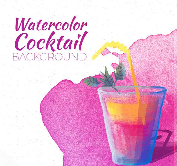 水彩绘紫色鸡尾酒