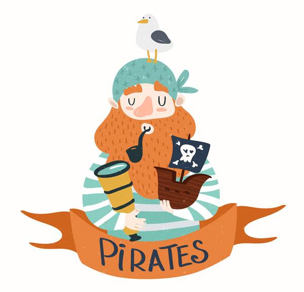 卡通海盗和海鸥