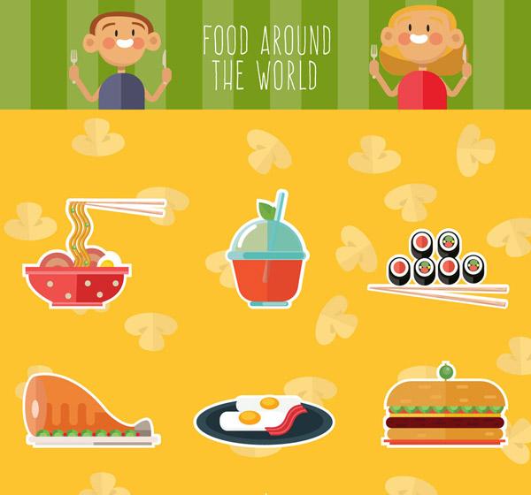 食物和人物矢量