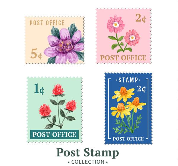 4款彩绘花卉邮票