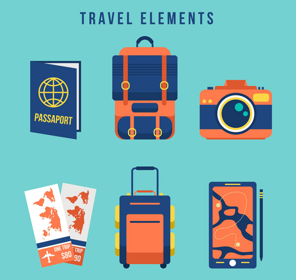 蓝色旅行物品图标