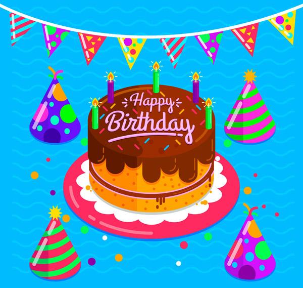 生日蛋糕和三角拉旗
