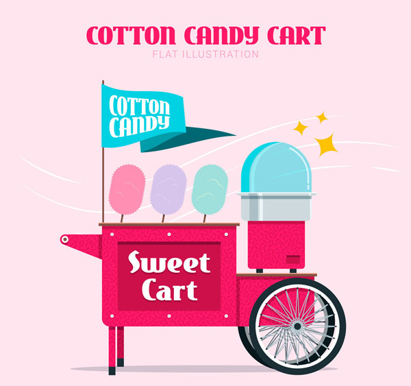 彩色棉花糖车