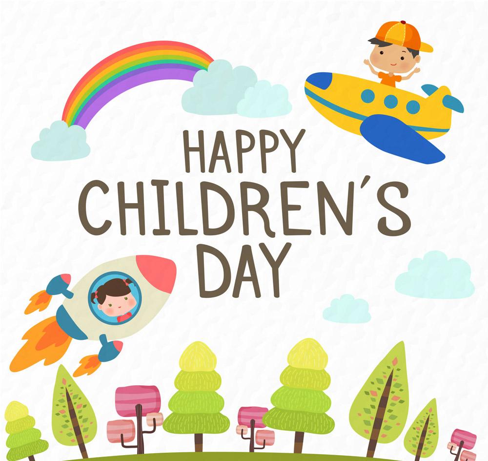 儿童节火箭和飞机儿童