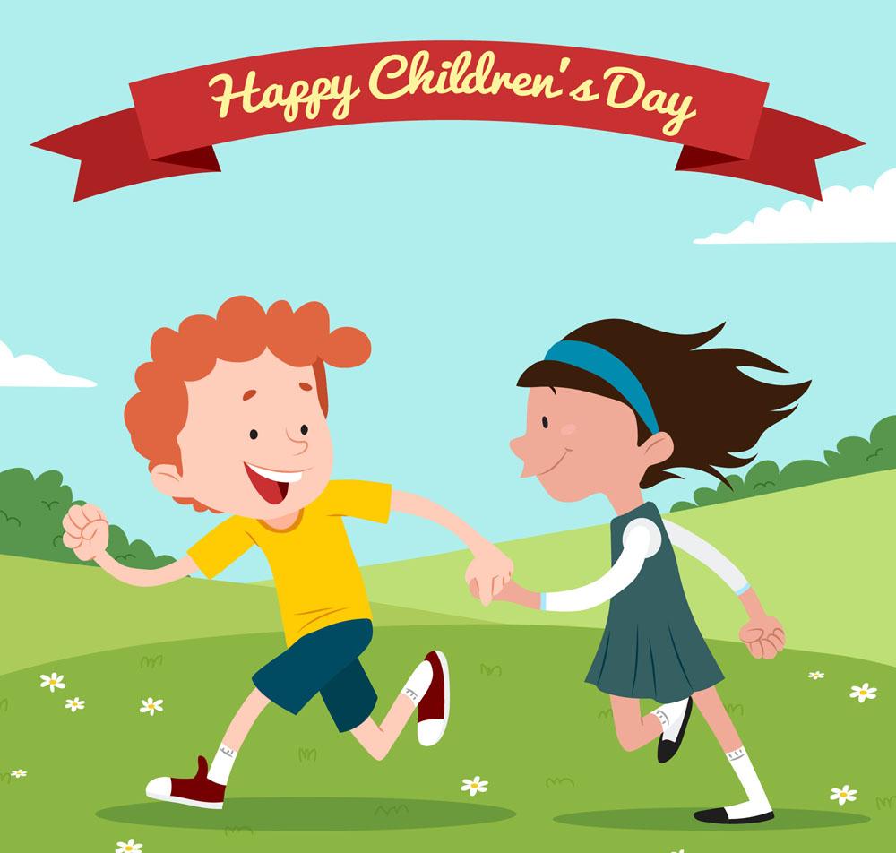 儿童节奔跑的孩子