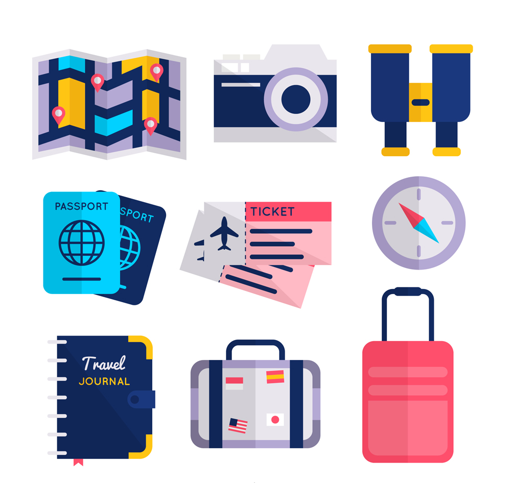 扁平化旅行物品