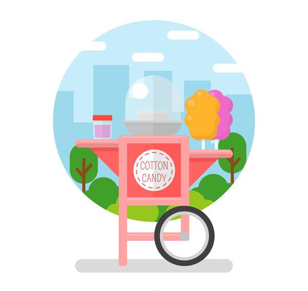 街边的棉花糖车