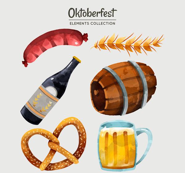 水彩绘啤酒节元素