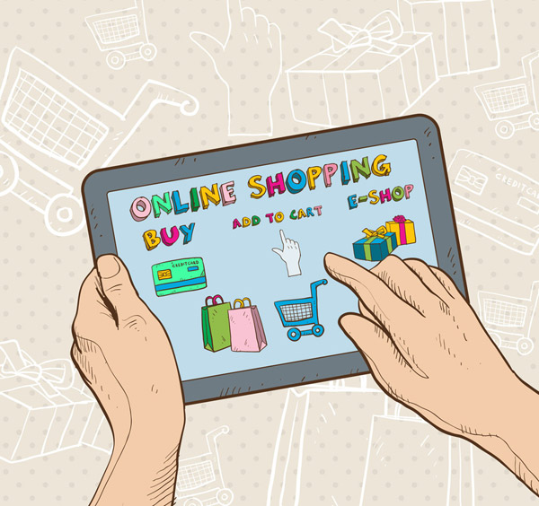 用平板电脑购物的手臂